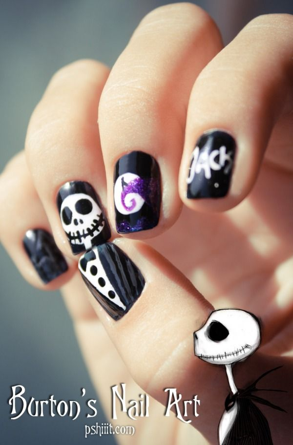 Tim Burton  Nail art inspiration: Nails Art, Nailart, Christmas Nails, Jack O'Connell, Jackskellington, Nightmare Before Christmas, Nail Art, Jack Skellington, Halloween Nails