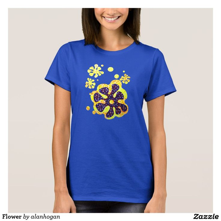 Flower T-Shirt @zazzle #designs #tees #zazzle #girlsfashion #leisure #blue #flowery #hippychick