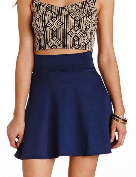 $16, Navy Skater Skirt: Charlotte Russe Solid High Waisted Skater Skirt. Sold by Charlotte Russe. Click for more info: https://lookastic.com/women/shop_items/51872/redirect