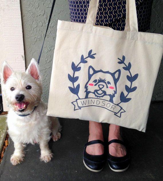 Custom Pet Tote Bag Personalized Pet Tote Bag by HitherRabbit