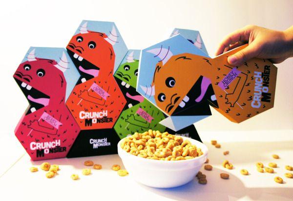 Se liguem só no Design totalmente arrojado desta embalagem de cereais. Além do formato diferenciado, a ilustração é bem divertida!  Designed by Andrea Bernardo