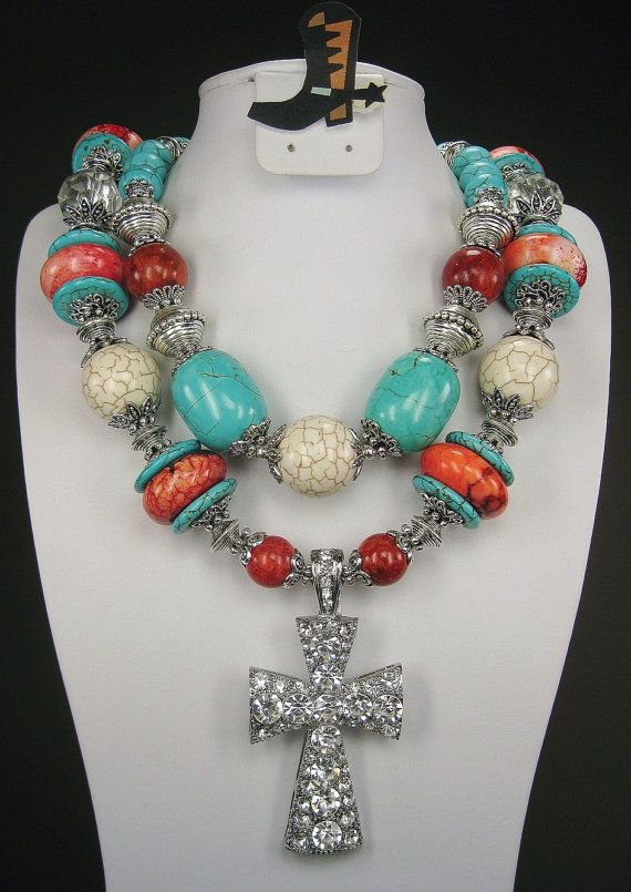 """""""Diva of the Southwest"""" cowgirl necklace - Turquoise & White Howlite / Red Maple by www.CayaCowgirlCreations.etsy.com - $56.50"""