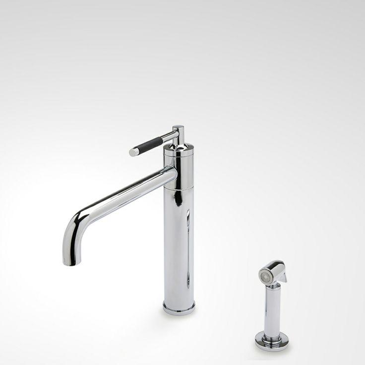 Waterworks Universal Modern One Hole Kitchen Mixer With Spray Unlacquered Brass 1