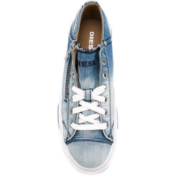 Diesel denim lace up sneakers (190 CAD) ❤ liked on Polyvore featuring shoes, sneakers, denim footwear, diesel shoes, diesel trainers, laced up shoes and laced shoes