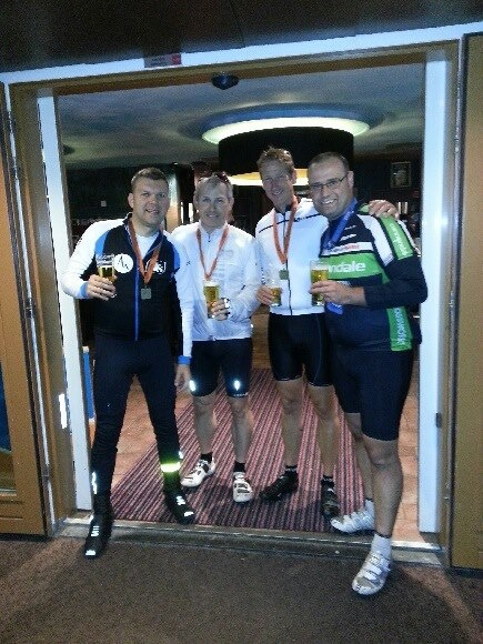 Mark Mitchell, Paul Hipkiss & Paul Meakin enjoying a pint after the gruelling Amsterdam 300 challenge raising money for Scope charity.