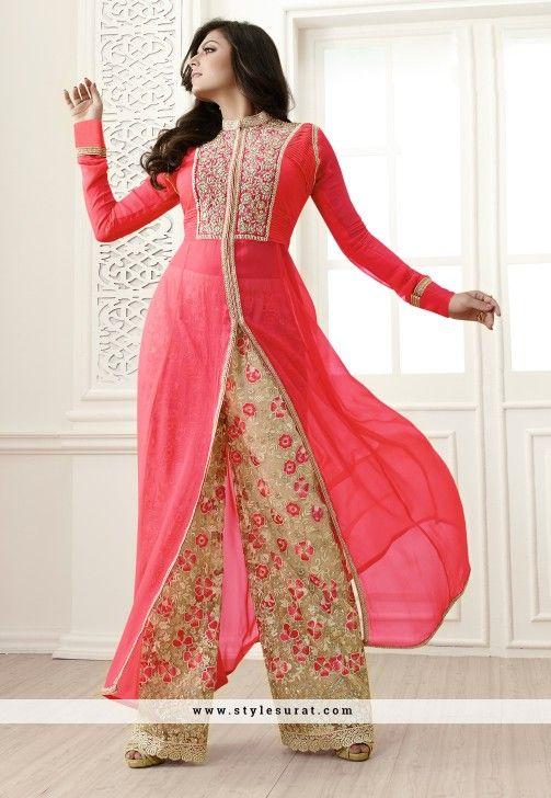 Pink Color Georgette Designer Achkan Style Salwar Suit