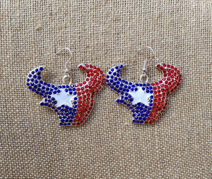 Houston Texans Earrings, Houston Texans Women, Football, Texans Gift, Football Jewelry, Houston Texans Bling, Houston Texans Jewelry by TheBadaBling on Etsy