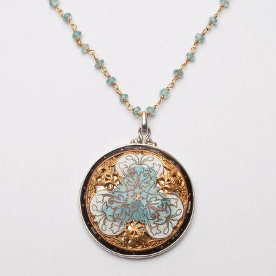 Enamel & Brass Button Necklace by Elizabeth Ngo – Fusion Art Glass Online Store