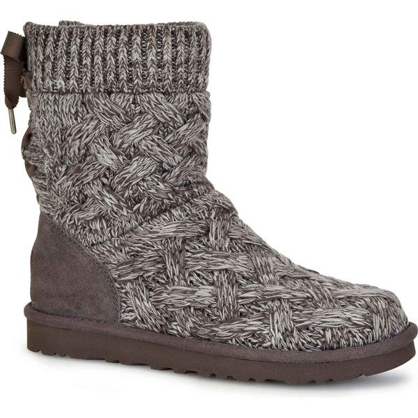 UGG Women's Isla Heathered Grey Boots (190 CAD) ❤ liked on Polyvore featuring shoes, boots, grey, ugg footwear, grey boots, lace boots, ugg boots and ugg