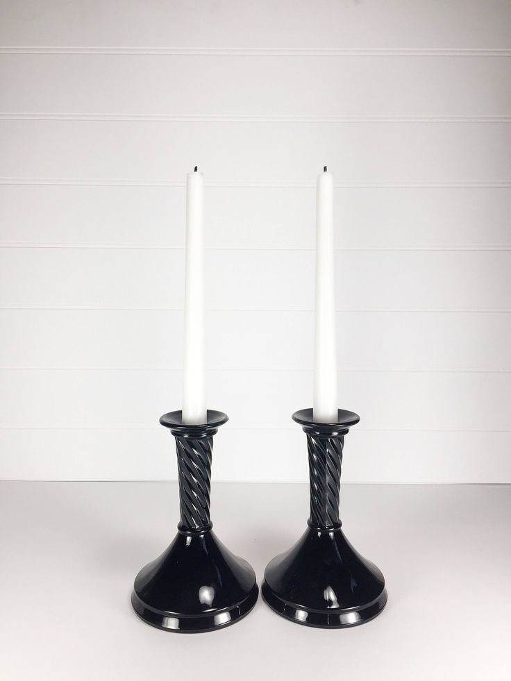 Set of 2 black glass candle stick holders by LeroyBrownFurnishing on Etsy