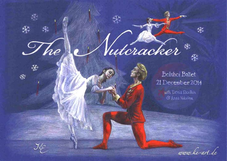 Bolshoi Ballet The Nutcracker with Denis Rodkin and Anna Nikulina - Drawing by Katja Eichhorn