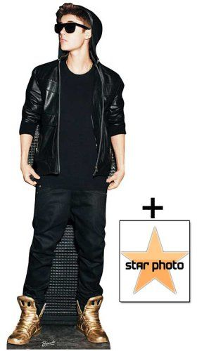 *FAN PACK* – Justin Bieber wearing Gold shoes / Trainers Lifesize Cardboard Cutout / Standee – INCLUDES 8X10 (25X20CM) STAR PHOTO – FAN PACK