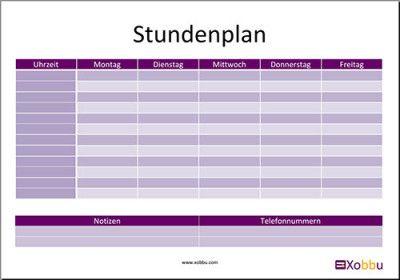 Stundenplan Vorlage  http://www.xobbu.com/stundenplan/  #schule #stundenplan…