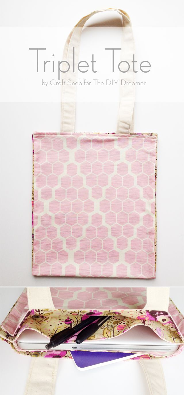 Triplet Tote - Sewing Tutorial for Beginners. This is a perfect DIY sewing project for beginners. This step by step tutorial will have you creating your very first sewing project in no time.