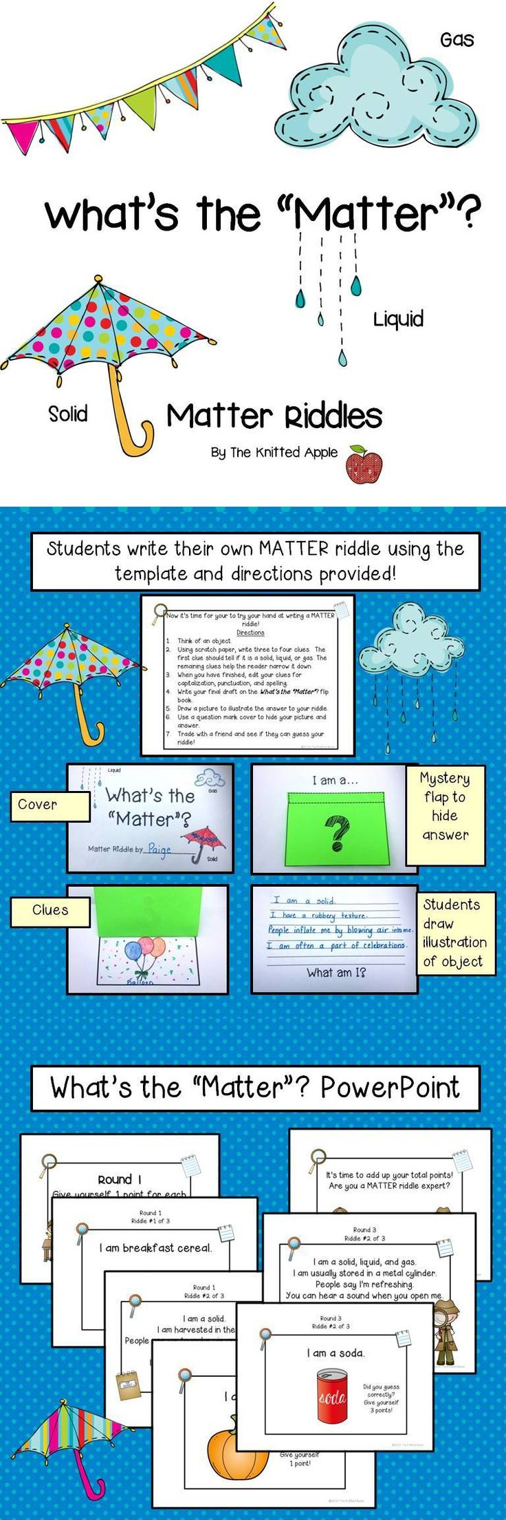 Matter Riddles PowerPoint- includes template for students to crea