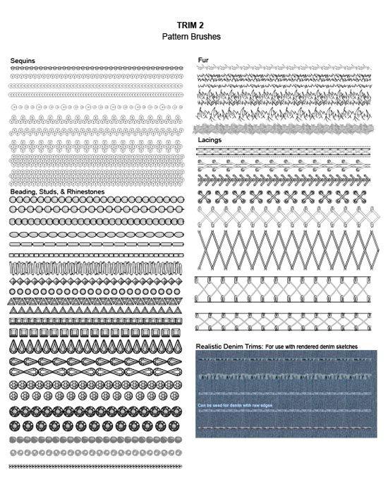 Adobe Illustrator Fashion Brushes - Trim brushes: sequin trim, beading, studs, rhinestones, fur trim, lacing, lace-ups, denim raw edges -650+ fashion brushes for only $24.95 #fashiondesign #illustratorbrushes #fashionillustration