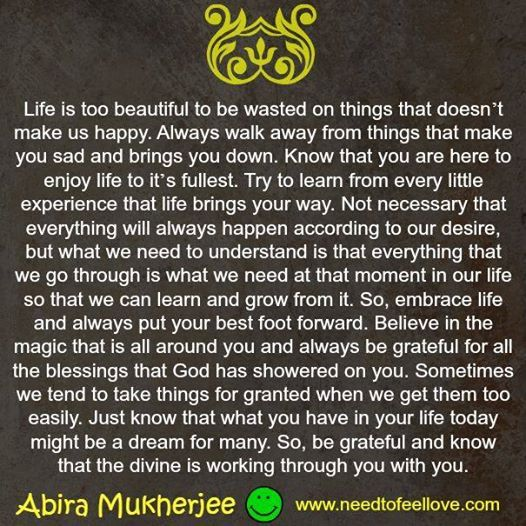 Life is too beautiful to be wasted on things