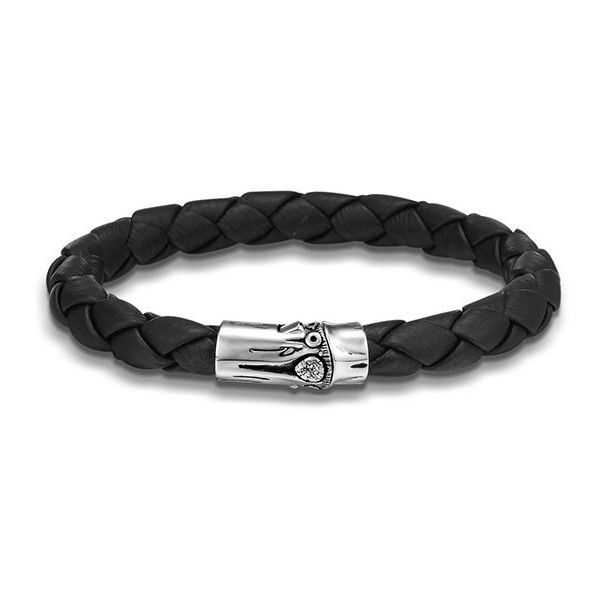 John Hardy Bamboo Medium Woven Black Leather Bracelet ($295) ❤ liked on Polyvore featuring men's fashion, men's jewelry, men's bracelets, mens woven leather bracelets, mens leather bracelets, mens leather braided bracelets, john hardy mens bracelets and mens woven bracelets