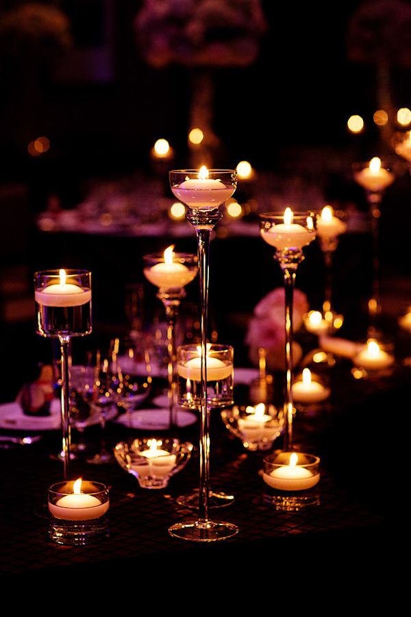 Romantic wedding reception candles - Photo by Olivia Leigh Photographie