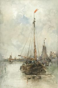Boats in a Harbor, Hendrik Willem Mesdag, not dated, watercolor on paper mounted on paperboard, 15 7/8 in. x 10 1/2 in. Currier Museum of Art.