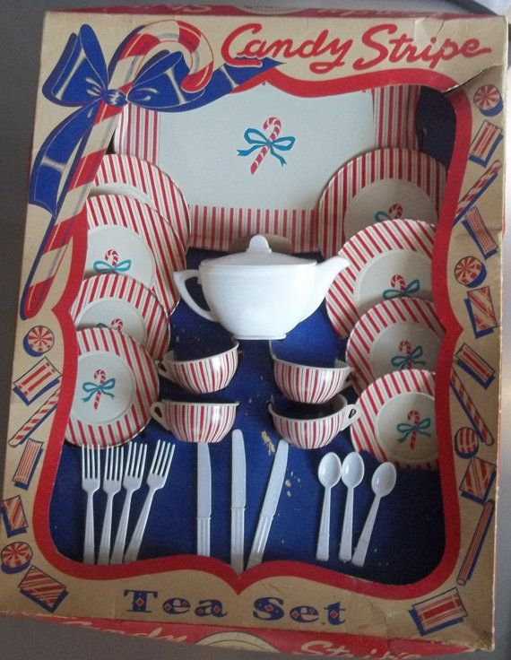 Vintage Candy Stripe Toy Tea Set in Original Boxi had this when i was a kid.