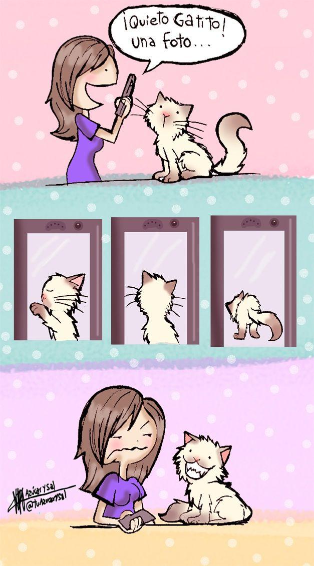 Me pasa lo mismo con mi gatito, le huye a la cámara.