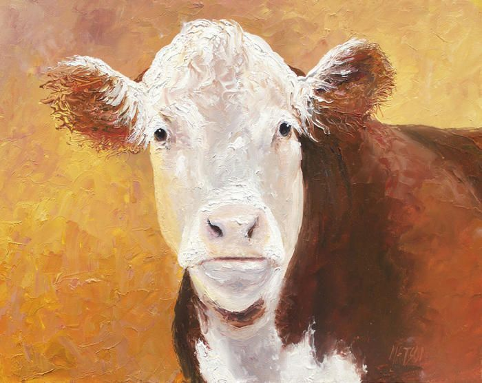 """""""Hereford Cow"""" by Jan Matson. Paintings for Sale. Bluethumb - Online Art Gallery"""