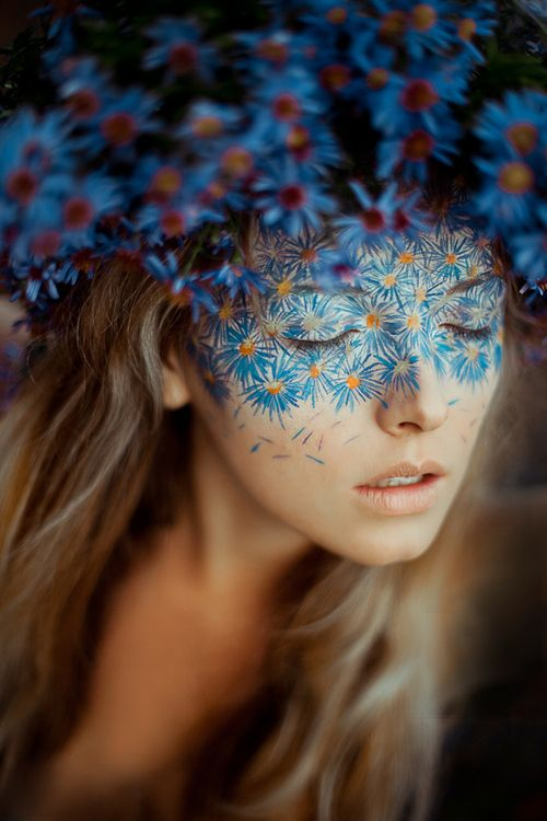 I love the idea of this or something similar, with different flowers, or any kind of headpiece repeated in facepaint