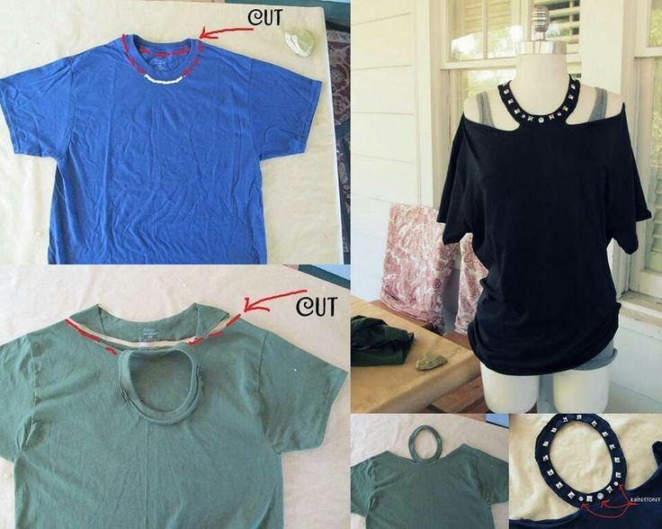 Consigue una playera vieja, haz los cortes que se muestran en la imagen, decora con estoperoles y tendrás una blusa nueva.