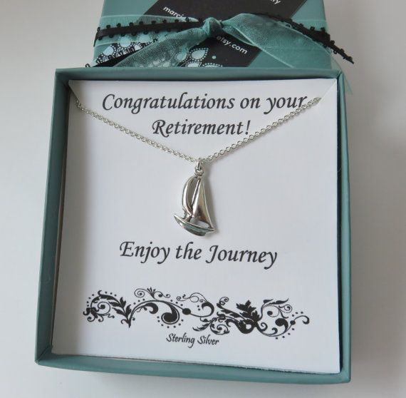 Retirement Gift for Women, sailboat sterling silver necklace, enjoy the journey, sailing, sail boat, boat, beach, water gift, journey gift,