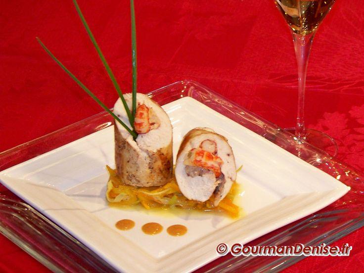 Ballotine de suprême de poulet fermier farci aux écrevisses pour le concours champagne en cuisine