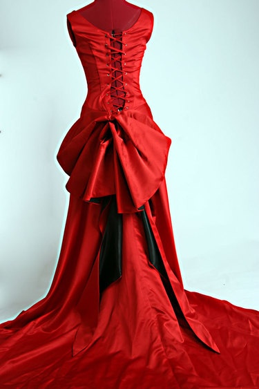Moulin Rouge Red Satin Smoldering Temptress Gown