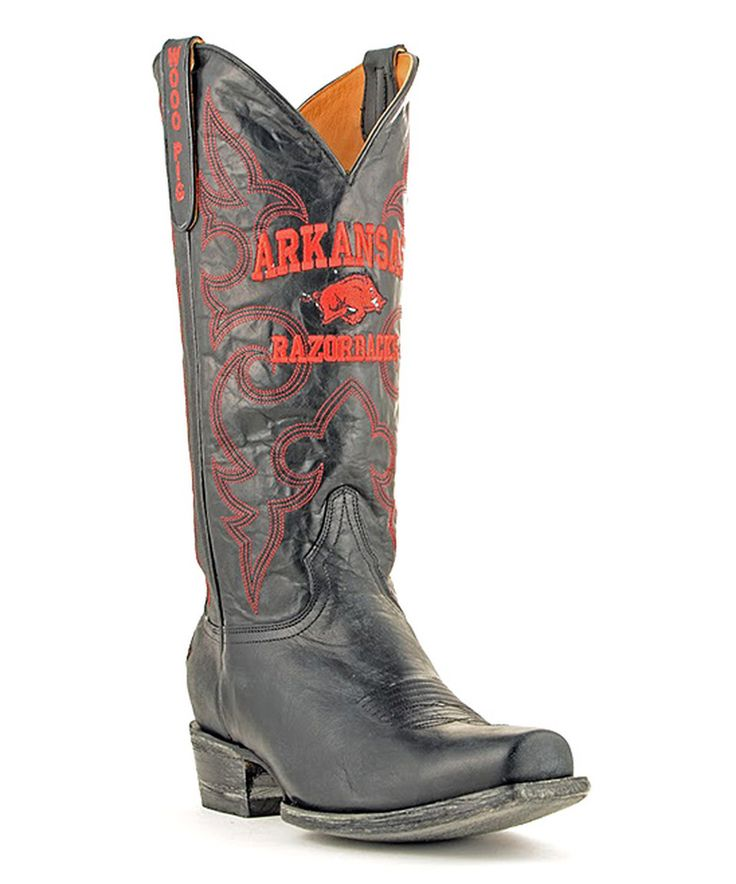 Take a look at this Arkansas Razorbacks Black Board Room Leather Cowboy Boot - Men today!