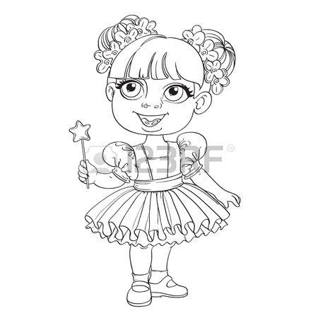 Bambina in tutu di balletto e bacchetta magica delineato