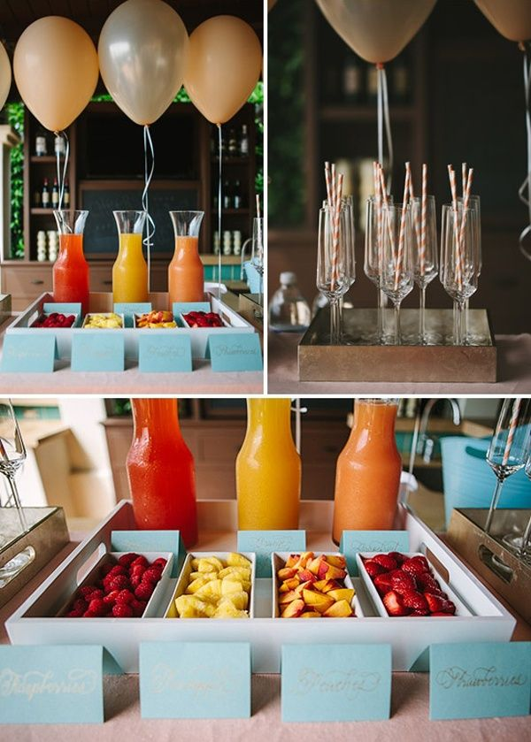 A mimosa bar is the perfect way to get ready with you and your bridesmaids! | http://weddingpartyapp.com/blog/2013/03/19/10-ways-to-be-the-coolest-bride-ever-from-your-future-bridesmaid-planning-humor-advice-etiquette-cool-laid-back-bridezilla/