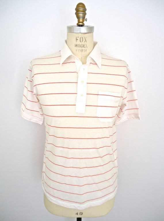 Vintage White Tennis Shirt with red stripe / Arrow by CompanyMan