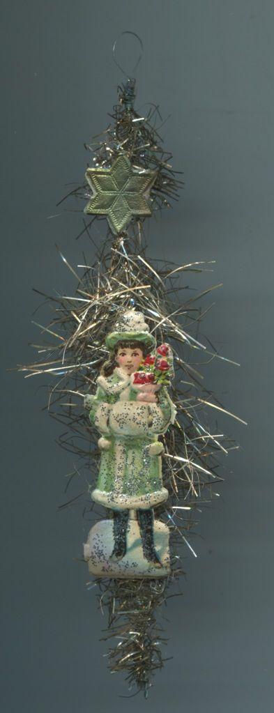 Alter Weihnachtsschmuck Christbaumschmuck Oblate Schneemädel mit Muff +Rosen | eBay