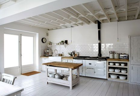 white white white kitchen with open shelving, white floar and butcherblock island