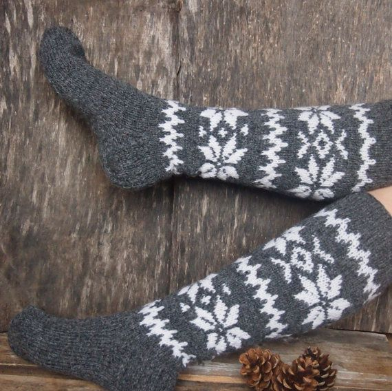 Knitted Wool Socks Handmade Knitted Knee High Wool by ManCrochets, $29.00