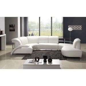 White semi-round sofa