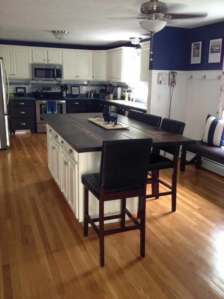 The Long View Of The Wooden Countertop For The Island