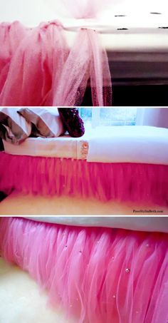 I would do this in my bedroom, just not with bright pink tulle. I'd probably do it with white and pale blue and then something with gold in it.