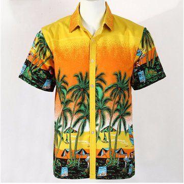 Designer Mens Summer Hawaii Coconut Tree Printing Casual Quick dry Short Sleeved Beach Shirts - NewChic