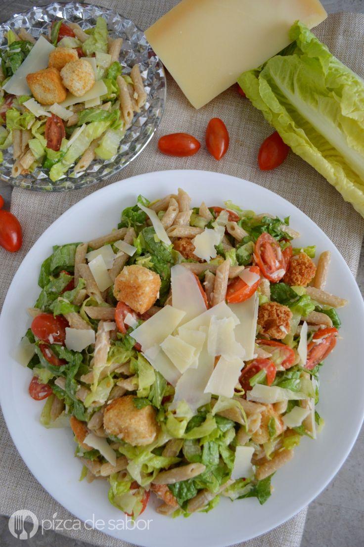 Ensalada cesar con pasta - ensalada de pasta www.pizcadesabor.com