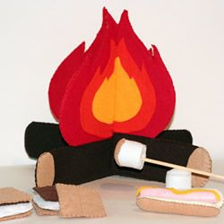 felt food (I like this indoor campfire - I would make it out of cardboard and paint it)