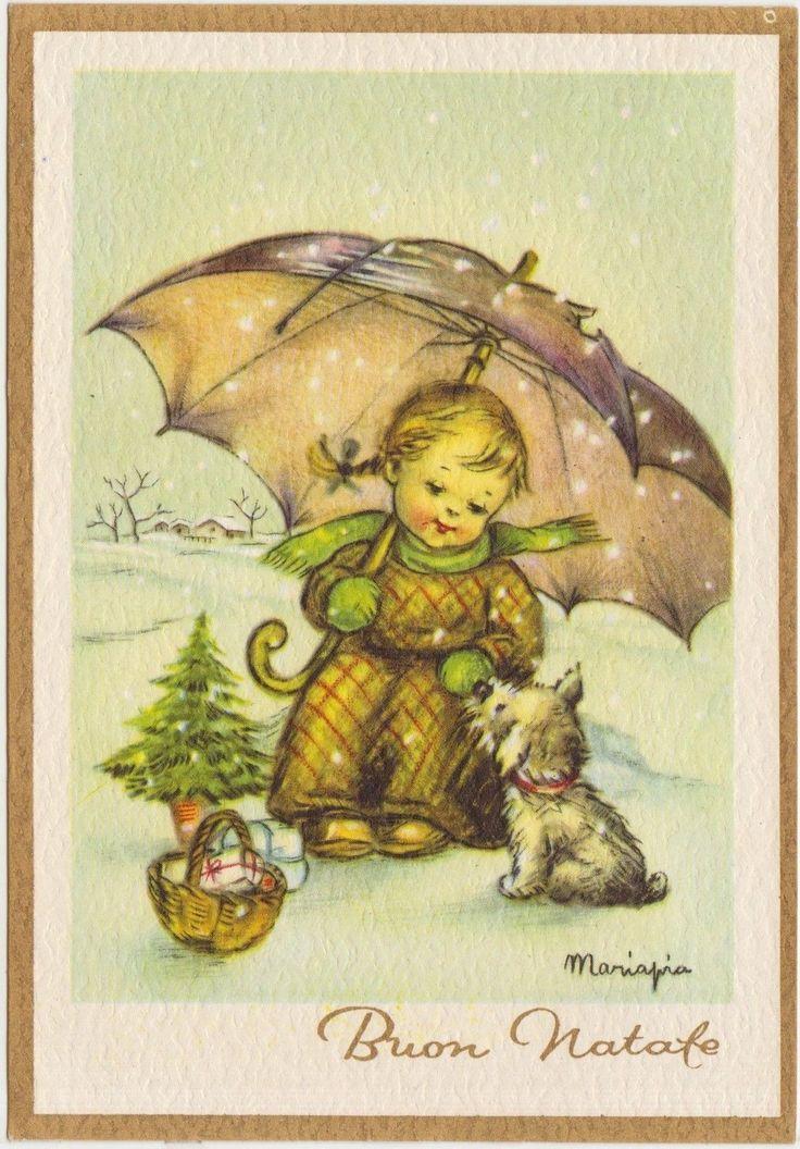 MARIAPIA MARIA PIA - BAMBINA CON CANE SOTTO LA NEVE in Collezionismo, Cartoline, Illustratori | eBay