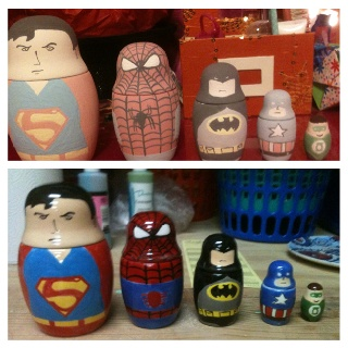 Superhero nesting dolls (Spiderman's body is backwards in the bottom image, oops)