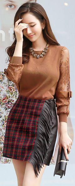 StyleOnme_Plaid Print Leather Fringe Skirt #red #plaid #leather #fringe #fallfashion #seoul #trend #chic #feminine #koreanfashion