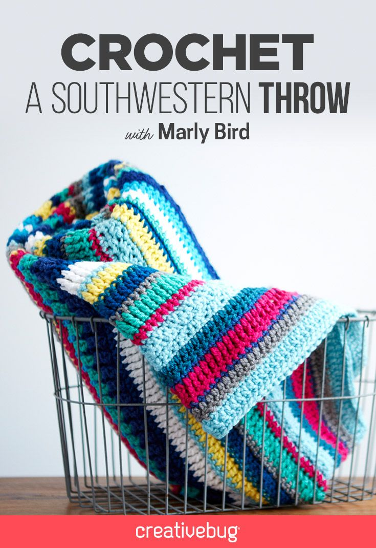 Looking for a new crocheting project? Head to the site to learn how to crochet your very own southwestern throw. Marly Bird gives you great crocheting tips and tricks, and teaches you how to crochet your very own vibrant and textural throw