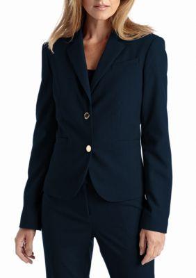 Calvin Klein Women's Notched Collar Suit Jacket - Blue - 12